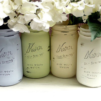 FALL WEDDING and Home Decor - Natural Garden - Painted and Distressed Shabby Chic Mason Jars - wide mouth quart