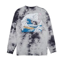 The Great Wave Of Nerm L/S Tee (Gray Tie Dye) - Ripndip | RIPNDIP