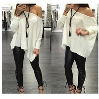 Round-neck Sexy Winter Casual T-shirts [7322491713]