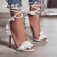 Cross Bandage High Heels Sandals Women Pumps Thin Heel Ruffle Lace-Up Summer Shoes Fashion