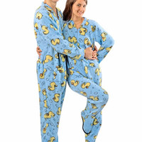 Adult Footed Pajamas Rubber Duck Blue Fleece with Drop Seat