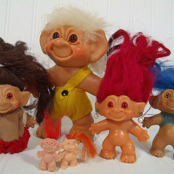 Vintage Troll Dolls Set of 6 - Retro Thomas Dam Trolls in Original Clothes - Mid Century Toys Made in Denmark Instant Troll Doll Collection