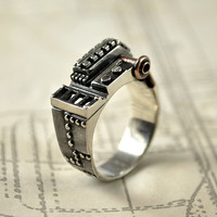 Steampunk industrial silver ring - sterling silver handcarved