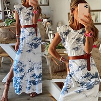 2020 new women's tie-dye printing irregular short sleeve dress