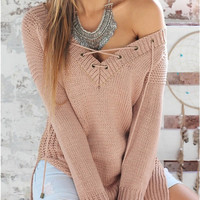 Long Sleeve Pullover Knit Women's Fashion V-neck Tops [9515504196]
