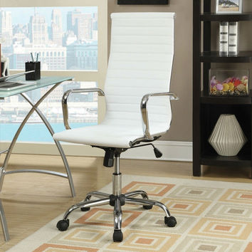 White Modern High-Back Office Chair Upholstered in Bonded Leather