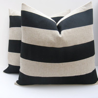 Decorative Pillows 20x20.Black Pillow Covers.Burlap Pillow. Black and Tan Pillows.Set of TWO Cushion Cover Printed fabric both sides