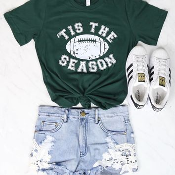 Distracted - Tis the Season Football Graphic Tee in Green