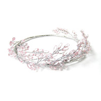 Pink Beaded Head Crown, Head Wreath, Pink Flower Crown, Silver Head Wreath with Pink Faceted Beads, Silver Wire Wedding Tiara