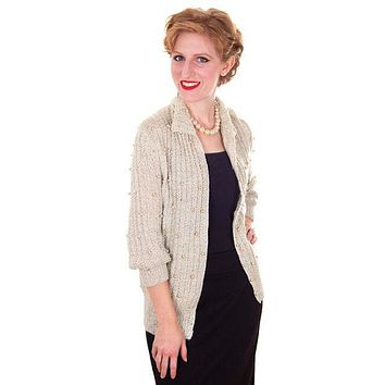 Vintage Sweater Ivory Pearl Studded Metallic Evening Cardigan by Ethel 1950s M