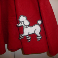 1950s Red Felt Poodle Skirt