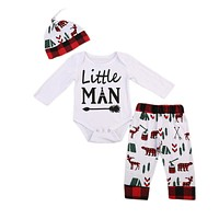 born Letter Long Sleeve Baby Boy Romper Deer Pants Hat Outfits Clothes Christmas Baby Clothing
