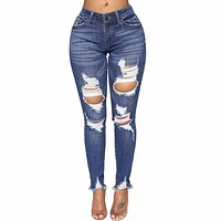 High Waist Ripped Jeans Of Women Spring Pants Capris Fashion Denim Hole Stretch Slim Sexy Pencil Jeans Pants Female