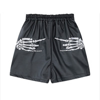 Black Skeletal Hand Print High Waisted Shorts