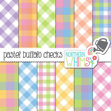 Pastel Buffalo Plaid Digital Paper – Buffalo check scrapbook paper with diagonal and straight patterns - printable paper - commercial use