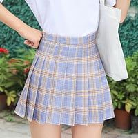Plaid Women Skirt High Waist Stitching Student Pleated Skirts Women Cute Sweet Girls Dance Mini Skirt