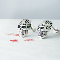 Halloween Skull Earrings Sterling Silver 925 Earrings Celtic Patterns Stud Earrings