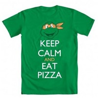 Teenage Mutant Ninja Turtles Michelangelo Keep Calm and Eat Pizza Adult Green T-shirt - Teenage Mutant Ninja Turtles - | TV Store Online