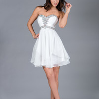 Sexy Short Strapless 2015 Prom Dress Ruched Bodice with Rhinestone Homecoming