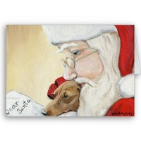 """""""Dachshund Request for Santa"""" Art Christmas Card from Zazzle.com"""