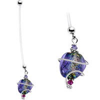 Handcrafted Glass Pregnancy Belly Ring Created with Swarovski Crystals | Body Candy Body Jewelry