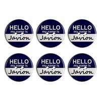 Javion Hello My Name Is Plastic Resin Button Set of 6