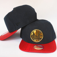 Golden State Warriors The City Gold Logo Black and Red Snake Skin New Era Snap Back Hat