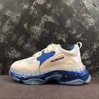 Balenciaga Triple S Clear Sole Trainers Grey/blue Sneakers