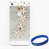 Iwotou 3D Bling Crystal Rhinestone Hard Plastic Case Cover for Apple iPhone 5/ 5S- Rain of Flowers + Free Accessories