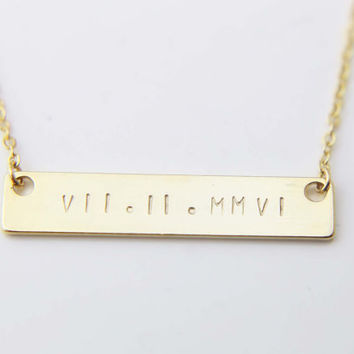Customized Roman Numeral Bar Necklace - Monogram & Name Necklace / Wedding Date Necklace