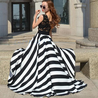 Alenny Lace Crochet Hollow Out Sleeveless Striped Maxi