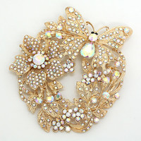 Butterfly Wreath Pin Brooch/ Pendant