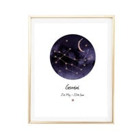 gemini birthday zodiac horoscope art painting room decor Typographic Print constellations framed quotes bedroom office tumblr room decor