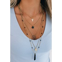 No Emotions Layered Necklace (Black)