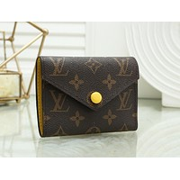 LV Louis Vuitton Popular Women Yellow Buckle Small Coin Purse Wallet 1#