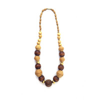 Vintage 1970s Wood Bead Necklace / Gold, Tan, Brown / Retro Handmade Jewelry / Boho Bohemian