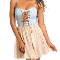 COUNTRY ESSENCE LACE UP DENIM DRESS
