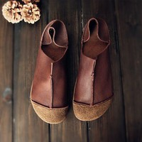 Handmade Retro Soft Leather Loafers Designers Flats For Women
