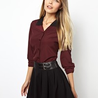 ASOS Blouse with Contrast Layered Collar