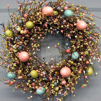 Easter Wreaths - Spring Wreath - Easter Egg Home Decor - Easter Egg Wreath - Easter Decor - Primitive Pastel Egg Wreaths - Primitive Decor