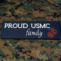 "Wood Sign ""Proud USMC Family"" Marine Corps, Military, Home Decor, Wall Decor"