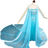 Disney FROZEN Princess Snow Queen Elsa Dress Costume (Made-to-order)