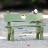 Fairy Garden Miniature Wooden Sweetheart Bench - fern green