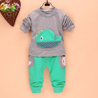 2Pcs Outfits Kids Baby Boys Clothes Long Sleeve Whale Tops+Long Pants Clothing Sets 1-4Y 4 Colors