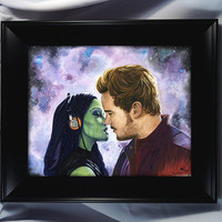 Guardians of the Galaxy - Framed Art - Star Lord and Gamora -We're Just Like Kevin Bacon