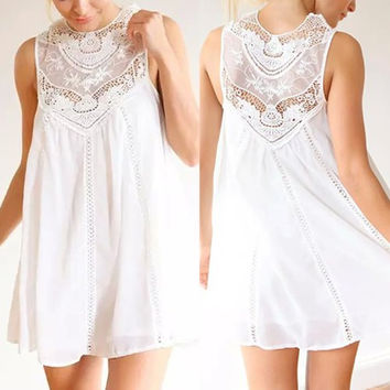 White Round Collar Sleeveless Cut Out Lace Dress