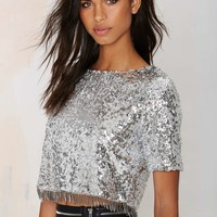 Glamorous Flash Back Sequin Crop Top
