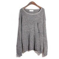 Round Neck Gray Sweater with Pocket$45.00