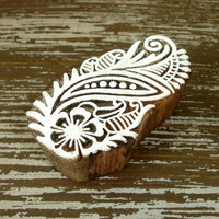 Indian Printing Block, Hand Carved Wood Stamp, Paisley Flower Leaf, Wooden Ceramic Tile Pottery Textile Stamp from India