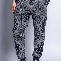 Men's Grid Bandana French Terry Jogger Pants